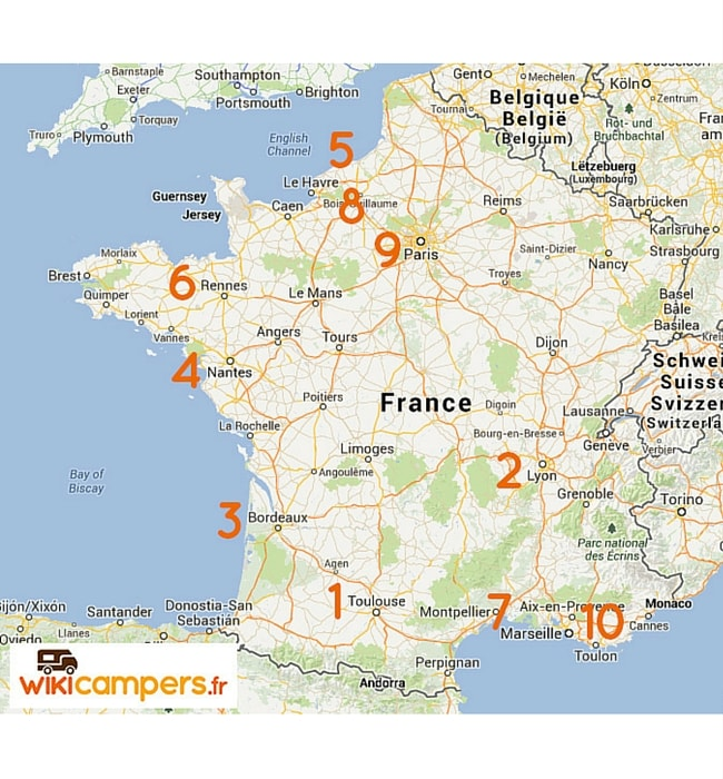 villes les plus recherchées pour louer un camping-car en France