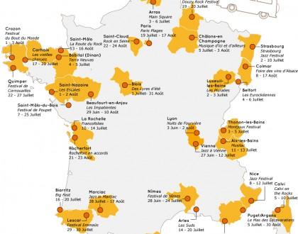 Carte de France des Festivals été 2014