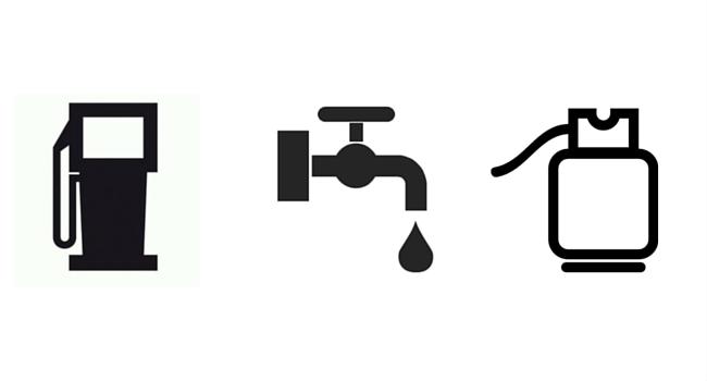 Etiquette eau, gaz, essence camping-car
