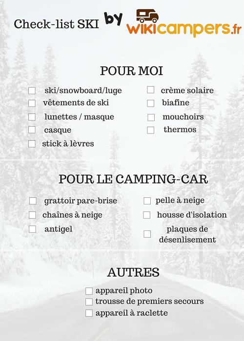 Bien préparer ses vacances au ski en camping-car_Check-list