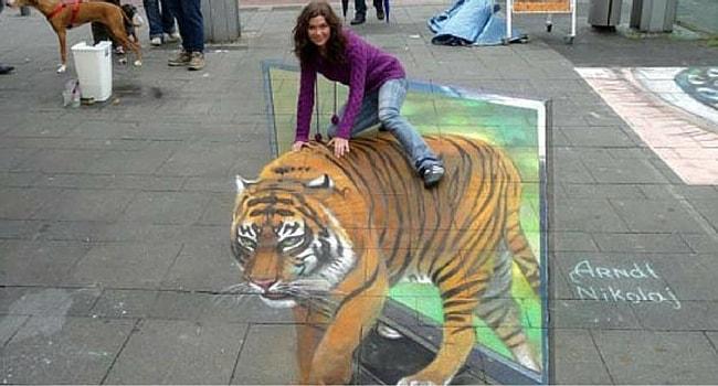 photo trompe l'oeil tigre apprivoise