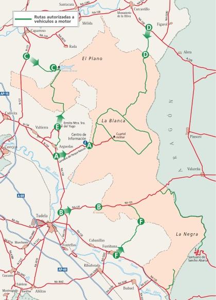 Carte du desert des bardenas