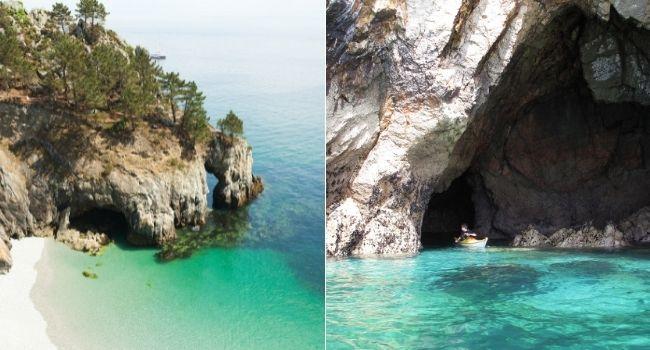 la-presqu-ile-de-crozon-en-van-morgat-grottes-kayak
