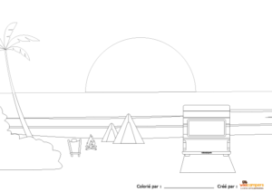 coloriage-wikicampers-camping-car-sunset