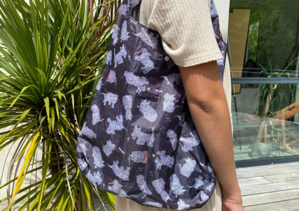 Sac de shopping pliable 100% recyclé - motif caniche