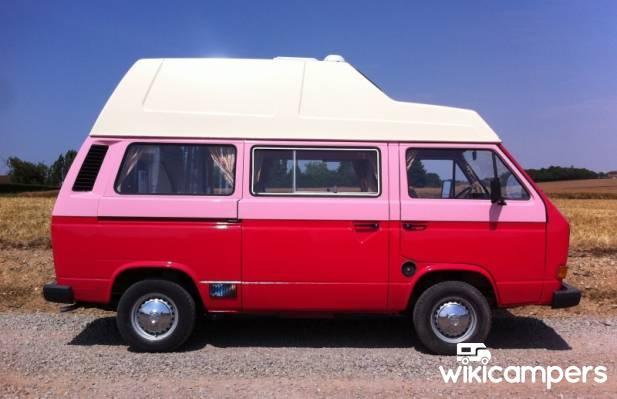 location van armenti res sur avre 27 volkswagen westfalia t3 rose rouge wikicampers. Black Bedroom Furniture Sets. Home Design Ideas